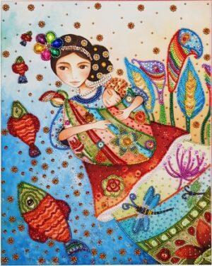 Картины из бисера с использованием пришивных камней и жемчуга